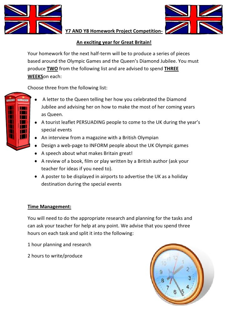 Y7 AND Y8 Homework Project Competition-                      An exciting year for Great Britain!Your homework for the next...