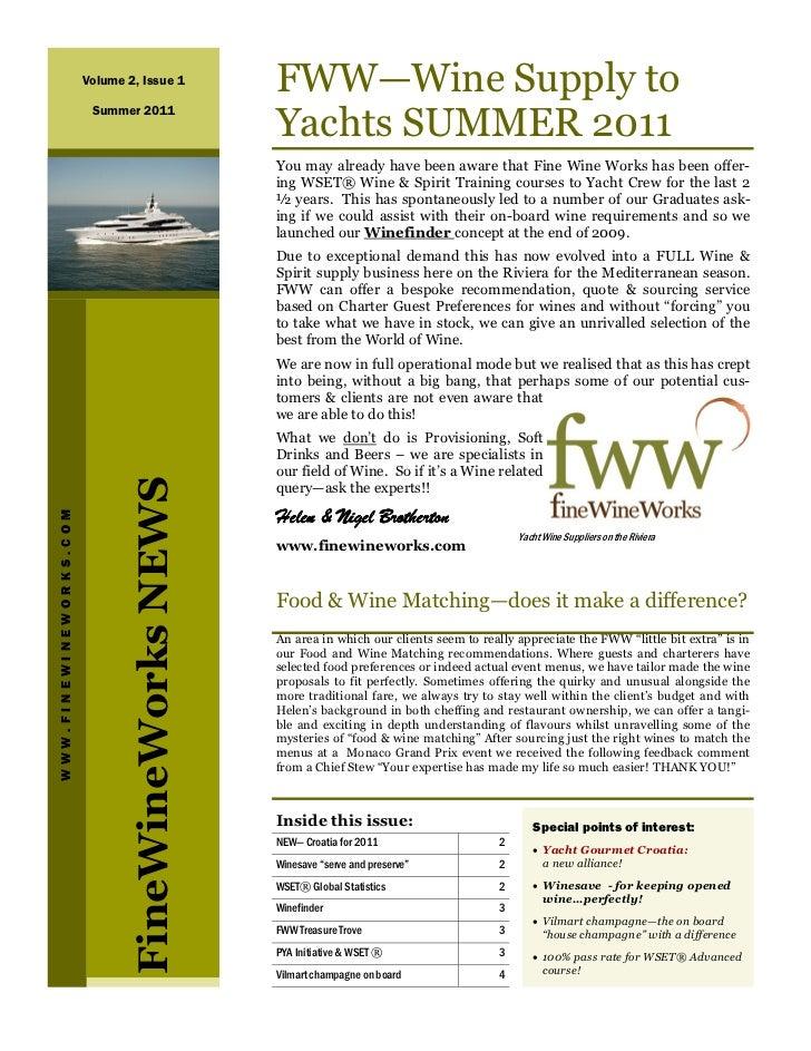 Volume 2, Issue 1            FWW—Wine Supply to                         Summer 2011                                       ...