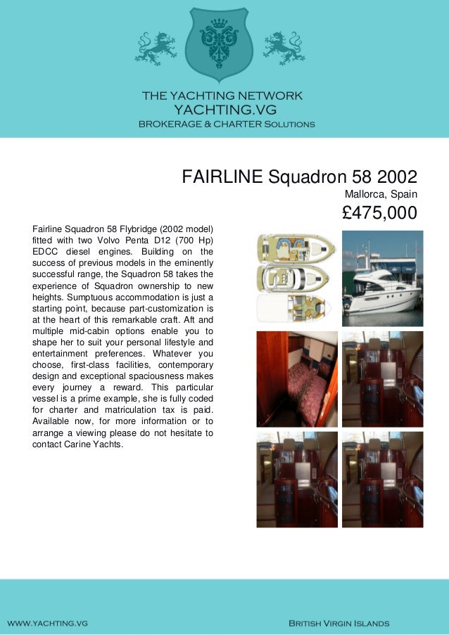 FAIRLINE Squadron 58, 2002, £475,000 For Sale Brochure. Presented By yachting.vg