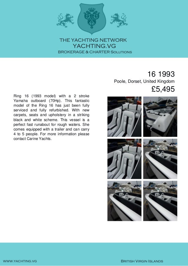 16, 1993, £5,495 For Sale Brochure. Presented By yachting.vg