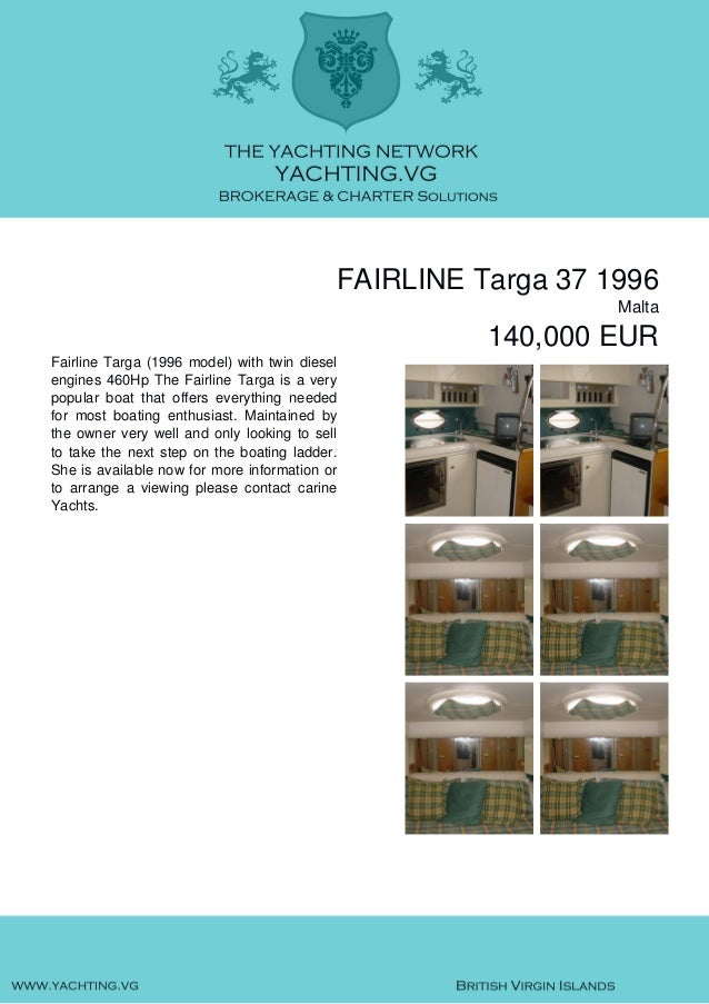 FAIRLINE Targa 37, 1996, 140.000€ For Sale Brochure. Presented By yachting.vg