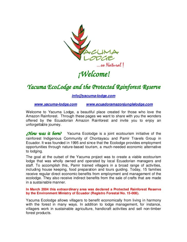 ¡Welcome!Yacuma EcoLodge and the Protected Rainforest Reserve                            info@yacuma-lodge.com     www.yac...