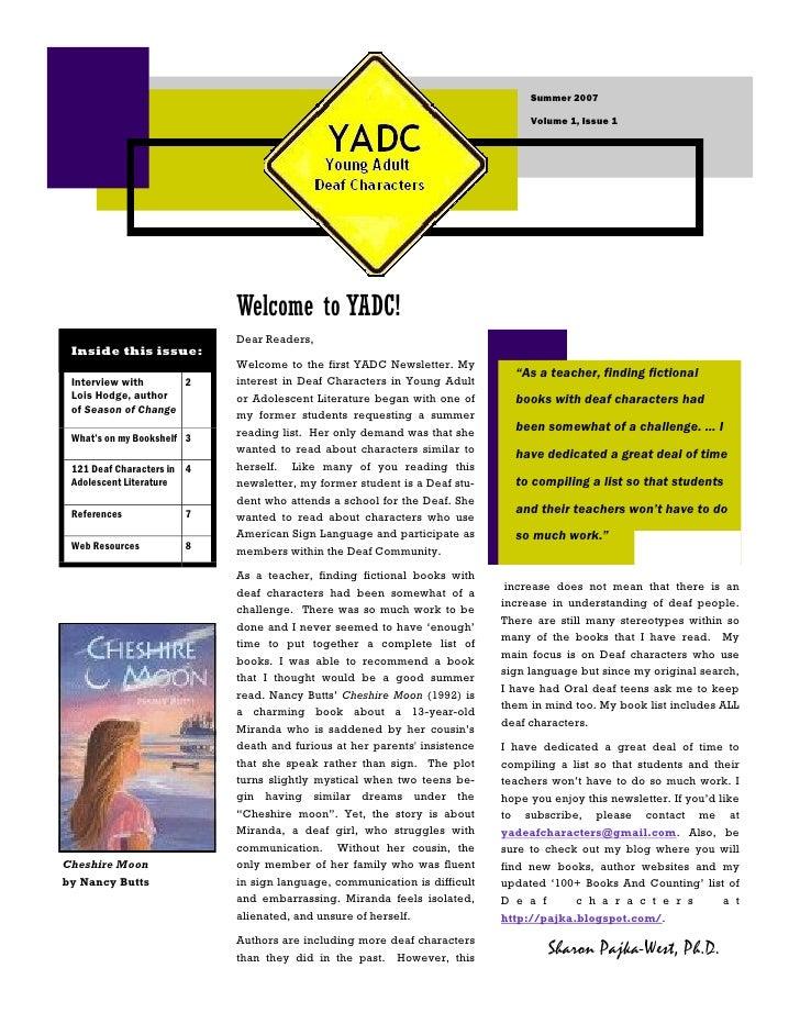 Summer 2007                                                                                  Volume 1, Issue 1            ...