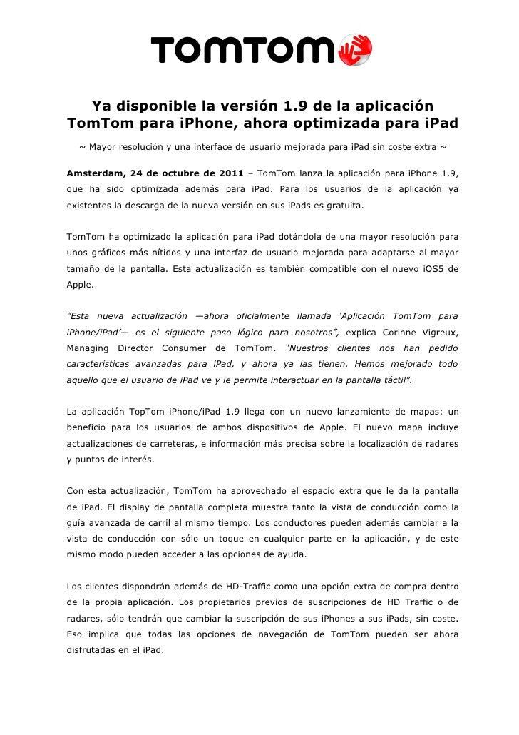 Ya disponible la versión 1.9 de la aplicación TomTom para iphone, ahora optimizada para ipad