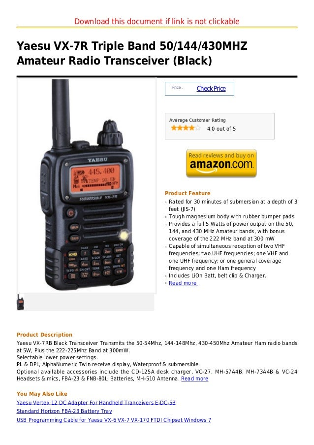Download this document if link is not clickableYaesu VX-7R Triple Band 50/144/430MHZAmateur Radio Transceiver (Black)     ...