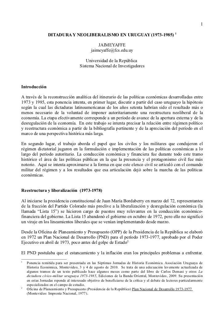 1                  DITADURA Y NEOLIBERALISMO EN URUGUAY (1973-1985) 1                                                   JA...