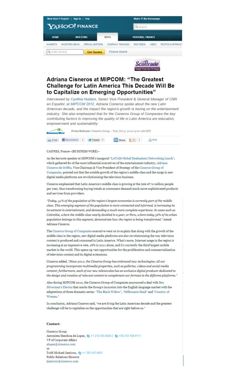 """Adriana Cisneros at MIPCOM: """"The Greatest Challenge for Latin America This Decade Will Be to Capitalize on Emerging Opportunities"""""""