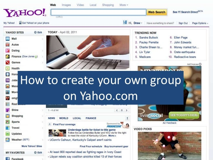 How to create your own group on Yahoo.com<br />