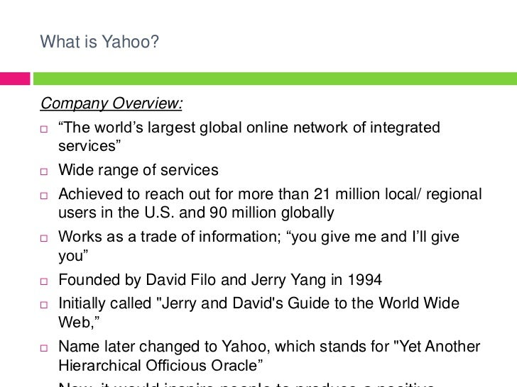 the yahoo corporation essay Yahoo inc is an american multinational internet corporation headquartered in   we will write a custom essay sample on case analysis of yahoo business.