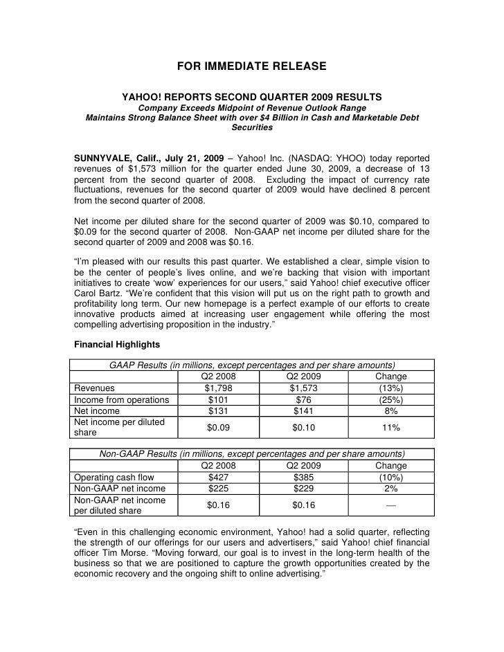 Yahoo Q2 Earnings Press Release