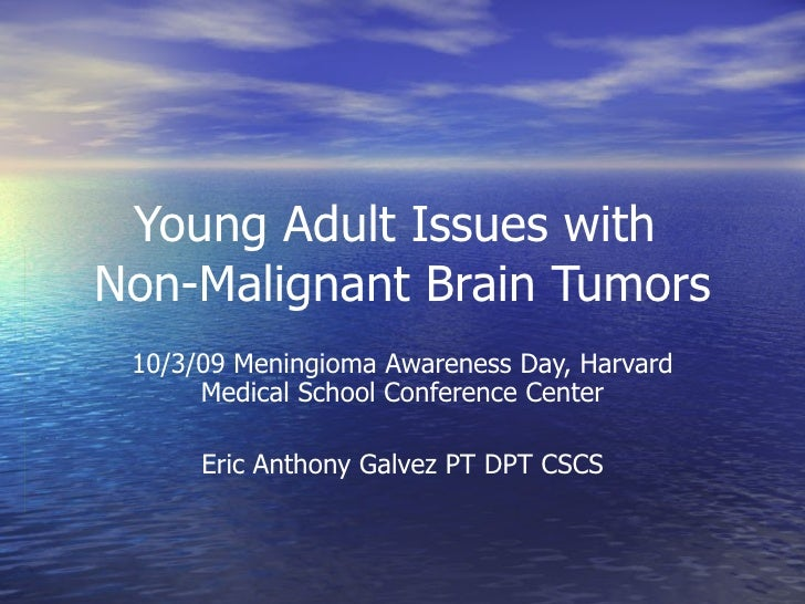Young Adult Issues with  Non-Malignant Brain Tumors 10/3/09 Meningioma Awareness Day, Harvard Medical School Conference Ce...