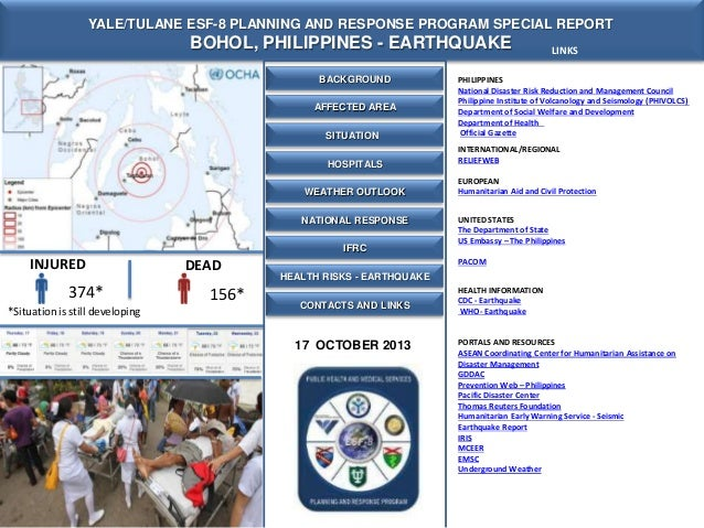 Yale Tulane ESF-8 MOC Special Report - Bohol Philippines Earthquake -17 Oct 2013