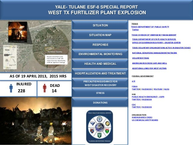 SITUATIONYALE- TULANE ESF-8 SPECIAL REPORTWEST TX FURTILIZER PLANT EXPLOSIONSITUATION MAPRESPONSEFEDERALGOVERNMENTATFFEMAT...