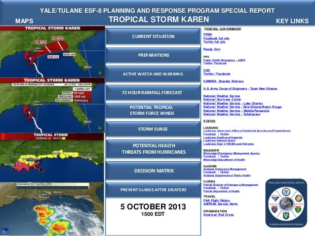 Yale Tulane ESF-8 VMOC Special Report - Tropical Storm Karen  3 PM EDT -  5 OCT