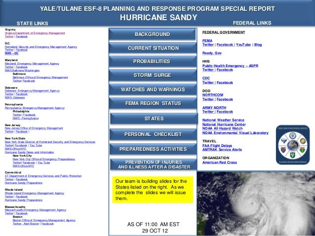 YALE/TULANE ESF-8 PLANNING AND RESPONSE PROGRAM SPECIAL REPORT                                                            ...