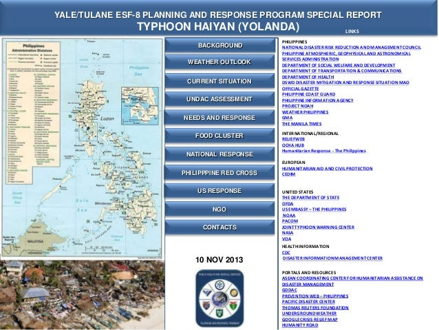 YALE/TULANE ESF-8 PLANNING AND RESPONSE PROGRAM SPECIAL REPORT  TYPHOON HAIYAN (YOLANDA) BACKGROUND WEATHER OUTLOOK CURREN...