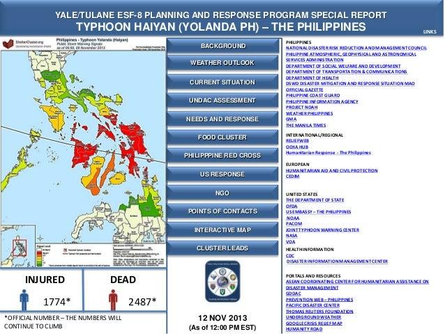 YALE/TULANE ESF-8 PLANNING AND RESPONSE PROGRAM SPECIAL REPORT  TYPHOON HAIYAN (YOLANDA PH) – THE PHILIPPINES BACKGROUND W...