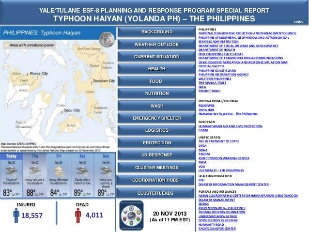 Yale-Tulane Special Report - Typhoon Haiyan (Yolanda) - The Philippines- 20 NOV 2013