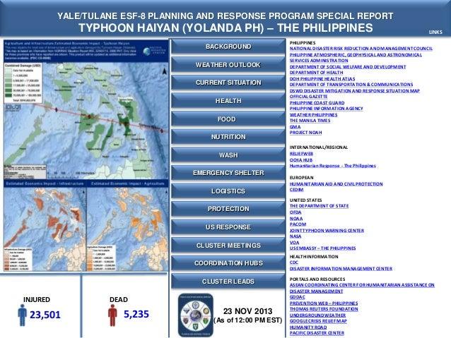 Yale-Tulane Special Report - Typhoon Haiyan (Yolanda) - The Philippines- 23 NOV 2013 - 12 PM