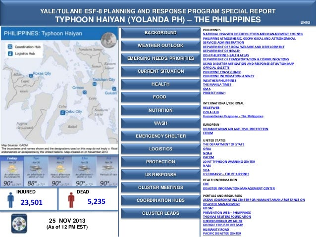 Yale-Tulane Special Report - Typhoon Haiyan (Yolanda) - The Philippines- 25 NOV 2013 - 12 PM