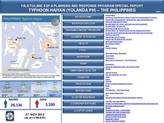 YALE/TULANE ESF-8 PLANNING AND RESPONSE PROGRAM SPECIAL REPORT  TYPHOON HAIYAN (YOLANDA PH) – THE PHILIPPINES BACKGROUND W...