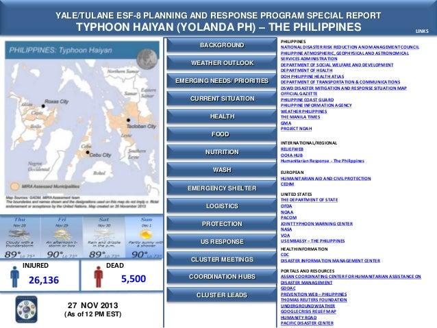 Yale-Tulane Special Report - Typhoon Haiyan (Yolanda) - The Philippines- 27 NOV 2013 - 12 PM