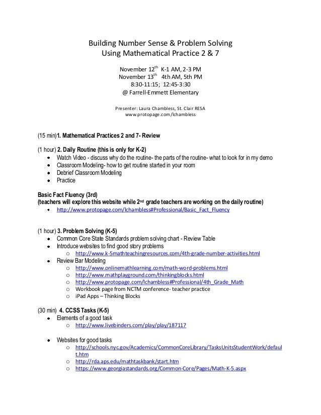 Building Number Sense & Problem Solving Using Mathematical Practice 2 & 7 November 12th K-1 AM, 2-3 PM November 13th 4th A...