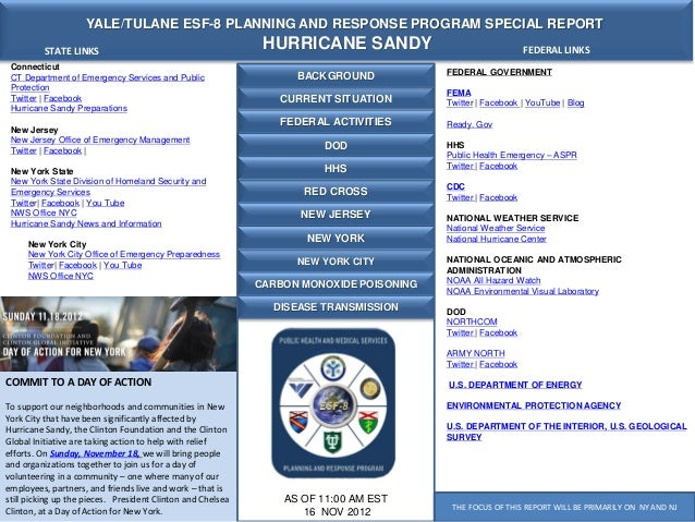YALE/TULANE ESF-8 PLANNING AND RESPONSE PROGRAM SPECIAL REPORT          STATE LINKS                                       ...