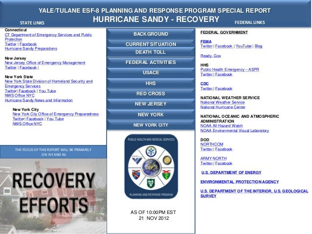 Yale tulane esf 8 moc report - hurricane sandy  21 nov 2012