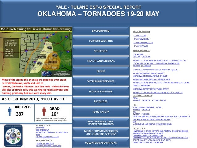 Yale -Tulane ESF 8 Special Report - 19-20 May - Oklahoma Tornadoes - As of 30 May 2013