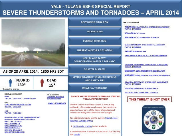 CURRENT SITUATION YALE - TULANE ESF-8 SPECIAL REPORT SEVERE THUNDERSTORMS AND TORNADOES – APRIL 2014 AS OF 28 APRIL 2014, ...
