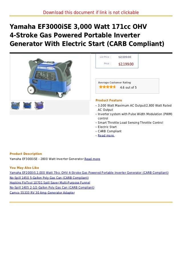 Yamaha ef3000i se 3 000 watt 171cc ohv 4 stroke gas for Yamaha ef3000ise inverter generator