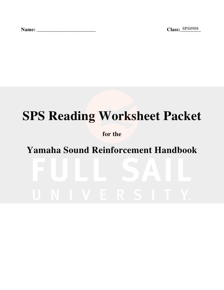 Yamaha Sound Reinforcement Worksheet
