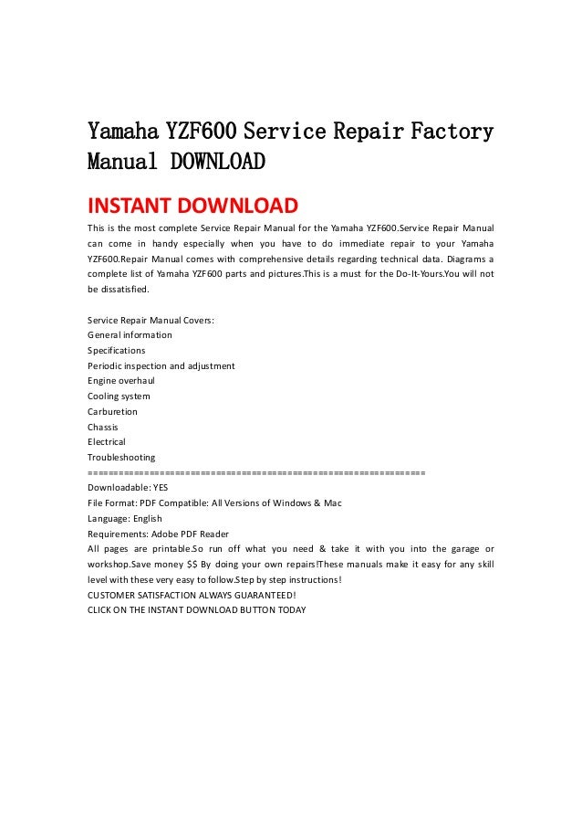 yamaha yzf600 service repair factory manual download. Black Bedroom Furniture Sets. Home Design Ideas