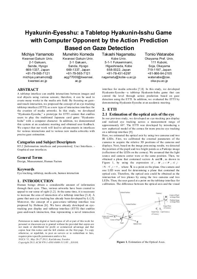 Hyakunin-Eyesshu: a Tabletop Hyakunin-Isshu Game with Computer Opponent by the Action Prediction Based on Gaze Detection M...