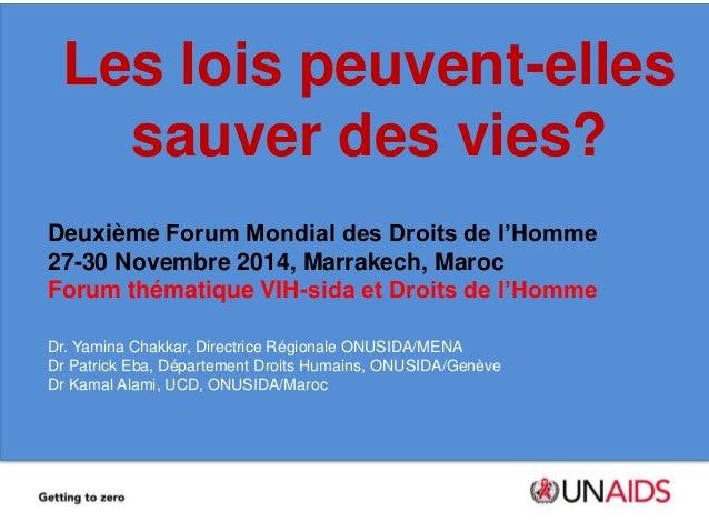 Les lois peuvent-elles  sauver des vies?  Deuxième Forum Mondial des Droits de l'Homme  27-30 Novembre 2014, Marrakech, Ma...