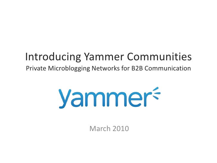 Yammer Communities Product Overview