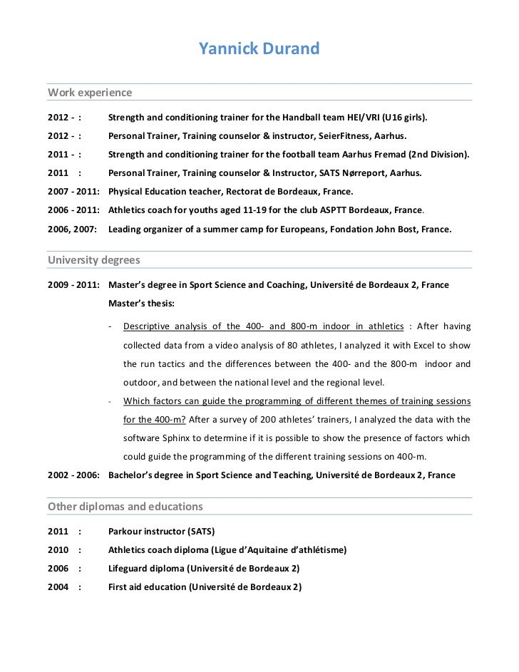 athletic training resume resume ideas