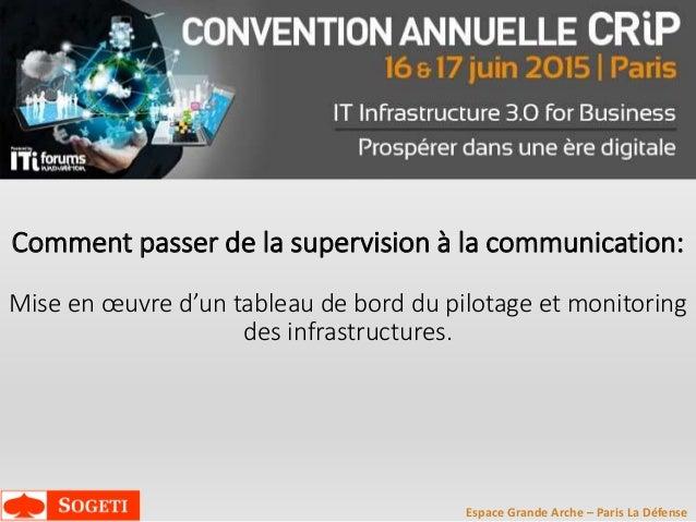 Espace Grande Arche – Paris La Défense Comment passer de la supervision à la communication: Mise en œuvre d'un tableau de ...