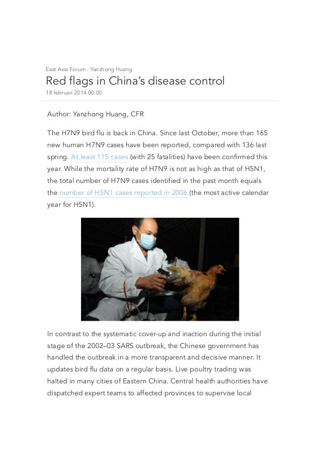 East Asia Forum - Yanzhong Huang  Red flags in China's disease control 18 februari 2014 00:00  Author: Yanzhong Huang, CFR...