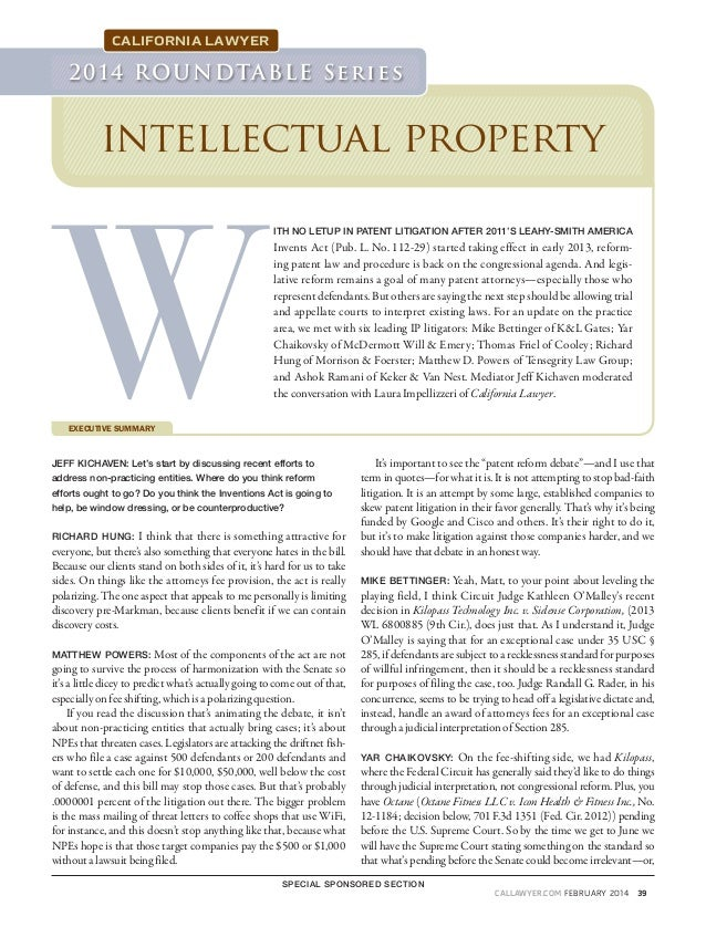 Yar chaikovsky 2014 Intellectual Property Roundtable February Issue