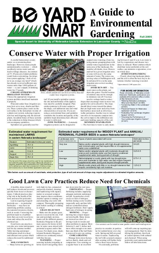 Be Yard Smart: A Guide to Environmental Gardening - University of Nebraska