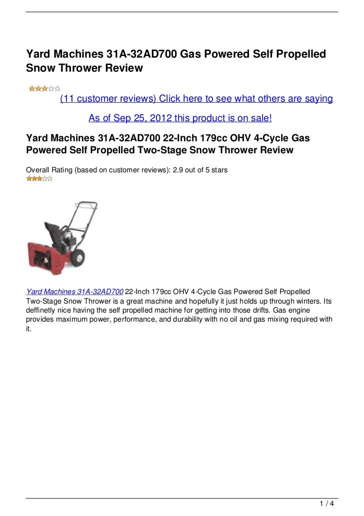 Yard Machines 31A-32AD700 Gas Powered Self Propelled Snow Thrower Review