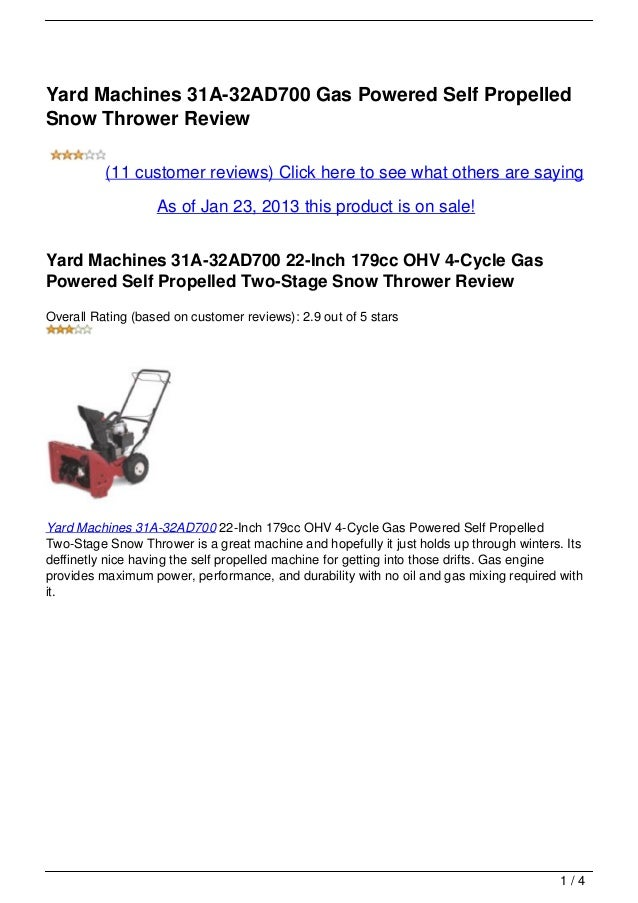 Yard Machines 31A-32AD700 Gas Powered Self PropelledSnow Thrower Review          (11 customer reviews) Click here to see w...