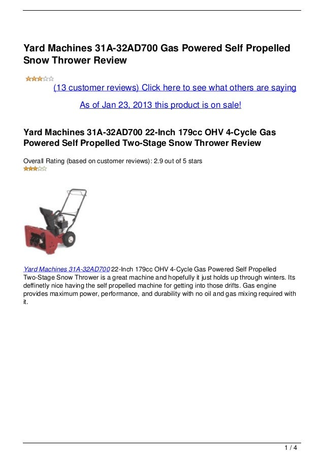 Yard Machines 31A-32AD700 Gas Powered Self PropelledSnow Thrower Review          (13 customer reviews) Click here to see w...