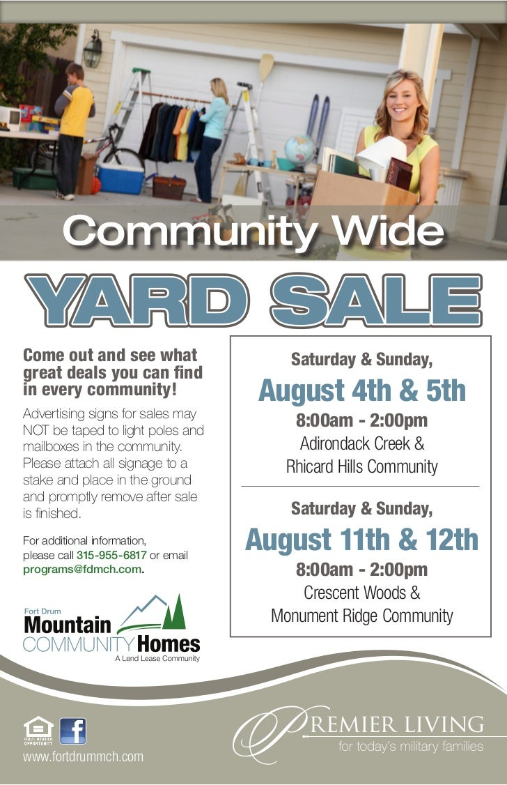Community Wide YARD SALECome out and see what                  Saturday & Sunday,great deals you can findin every communit...