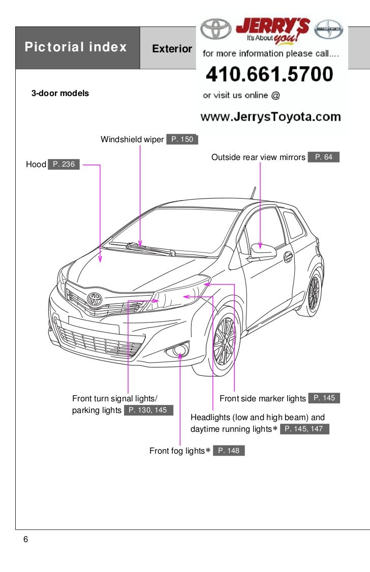 2012 Toyota Yaris Pictorial Index