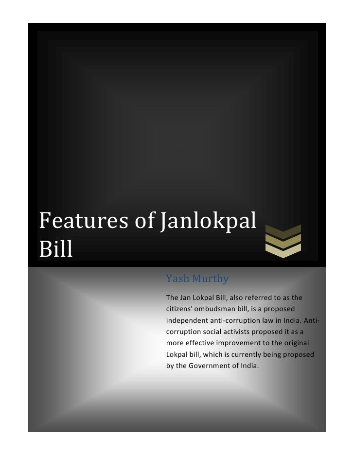 Features of Janlokpal bill