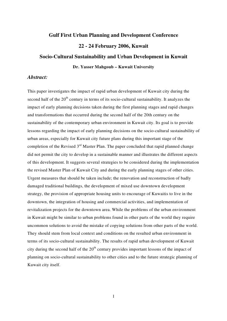 Gulf First Urban Planning and Development Conference                               22 - 24 February 2006, Kuwait         S...