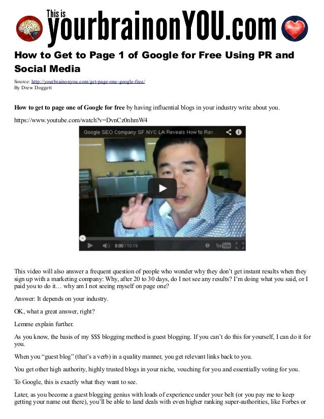 How to Get to Page 1 of Google for Free Using Authority, PR and Social Media